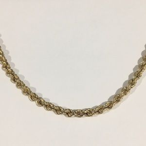"""14k Yellow Gold Rope Chain Necklace 18"""" 4mm"""